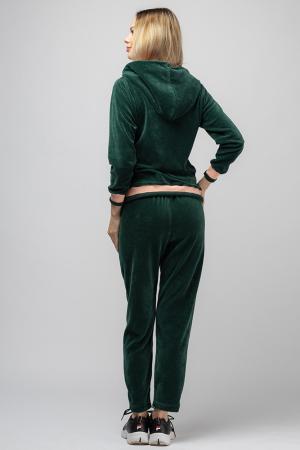 Trening dama doua piese din catifea de bumbac, verde smarald, cu banda roz [2]