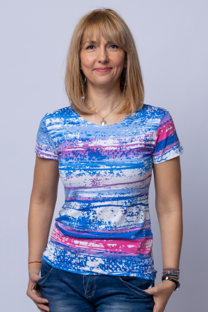 Tricou alb-albastru din vascoza [0]