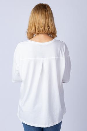 Tricou alb oversize cu siret reglabil, din bumbac [1]