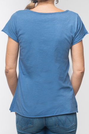 Tricou albastru din bumbac cu maneca scurta2