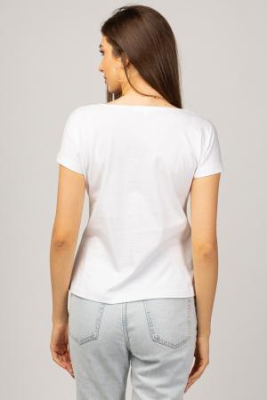 Tricou cambrat alb din bumbac cu imprimeu margarete albe [2]