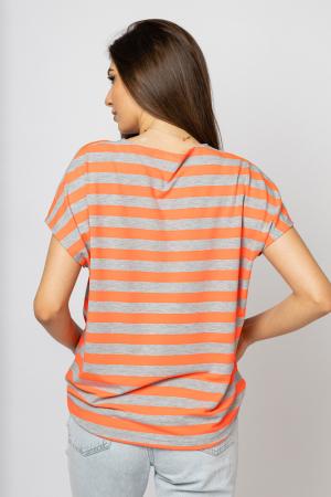 Tricou cu dungi gri - portocalii si snur la poale, din vascoza [2]