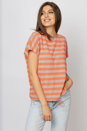 Tricou cu dungi gri - portocalii si snur la poale, din vascoza [1]