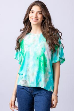 "Tricou cu maneca volan ""Asian Dye"" pe fond verde [2]"