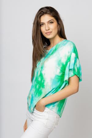 "Tricou cu maneca volan ""Asian Dye"" pe fond verde [1]"