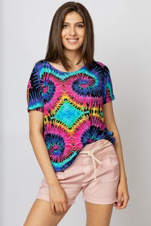 """Tricou din vascoza cu imprimeu """"Asian Dye"""" multicolor [0]"""