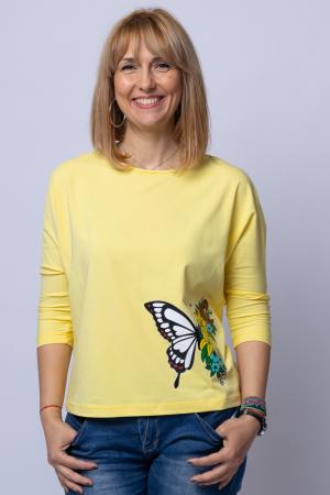 Tricou galben din bumbac, cu maneci 3/4 si imprimeu fluture0