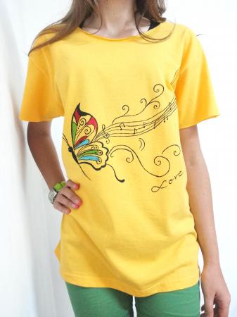 Tricou galben pictat manual cu fluturas si note muzicale [0]