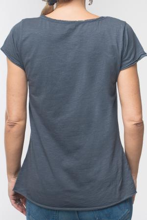 Tricou gri inchis din bumbac cu maneca scurta [2]