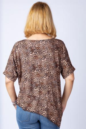 Tricou in colturi, cu imprimeu animal print - leopard, din vascoza [1]