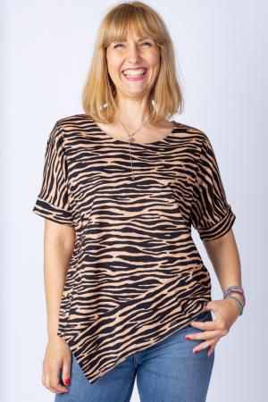 Tricou in colturi, cu imprimeu animal print - tigru, din bumbac [0]