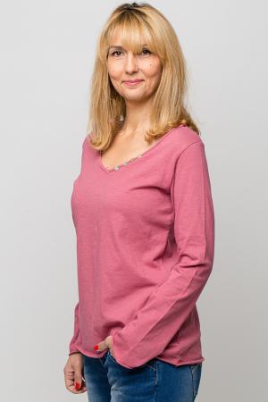 Tricou roz din bumbac cu maneca lunga1