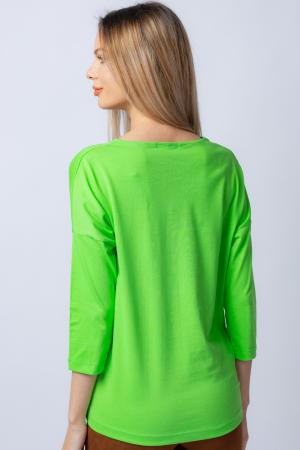 Tricou verde din bumbac, cu maneci 3/4 si imprimeu maci [2]