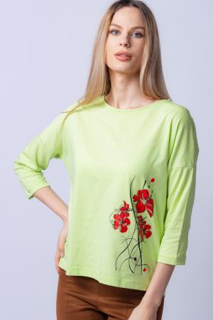 Tricou verde menta din bumbac, cu maneci 3/4 si imprimeu maci [0]