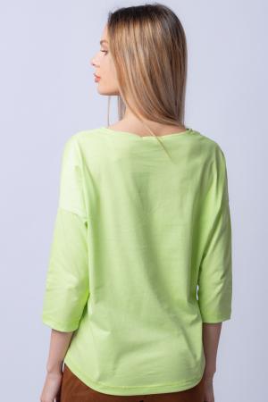 Tricou verde menta din bumbac, cu maneci 3/4 si imprimeu maci [2]