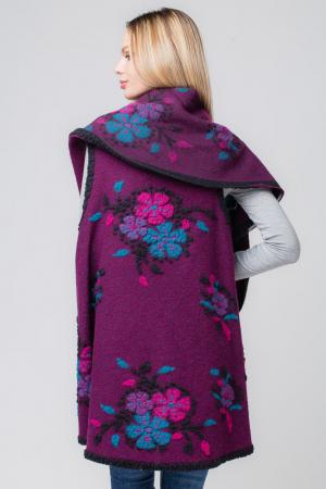 Vesta mov  din lana cu flori si guler sal2