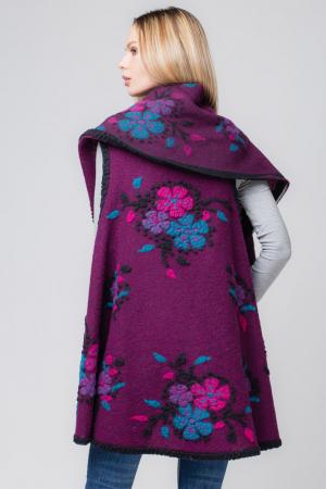 Vesta mov  din lana cu flori si guler sal1