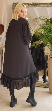 Rochie midi neagra oversize, cu volan si fermoare, extravaganta [4]