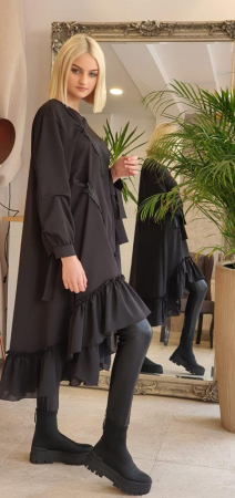 Rochie midi neagra oversize, cu volan si fermoare, extravaganta [2]