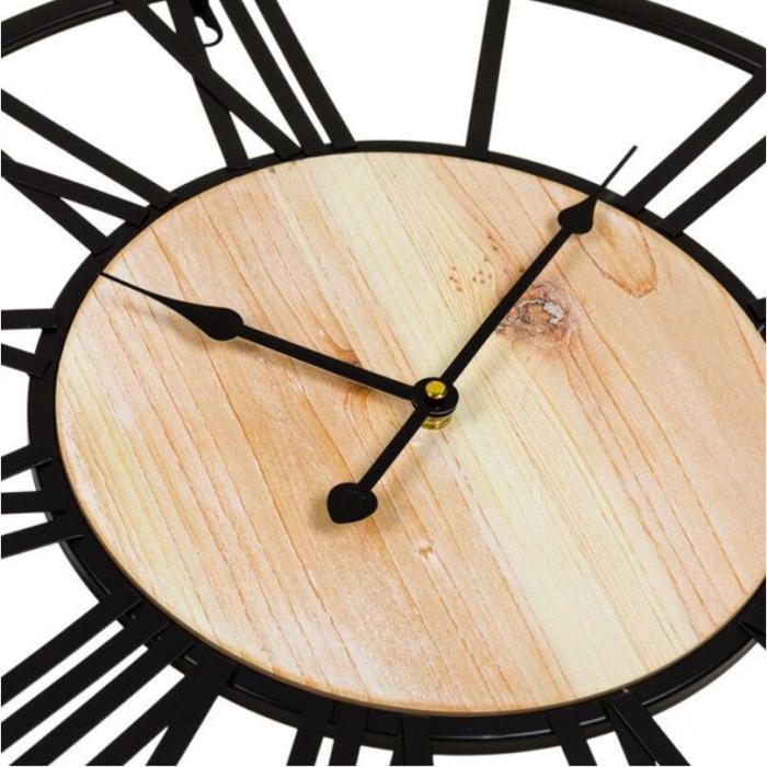 "Ceas decorativ de perete ""Vintage Hour"" metalic, negru, 50 cm [3]"