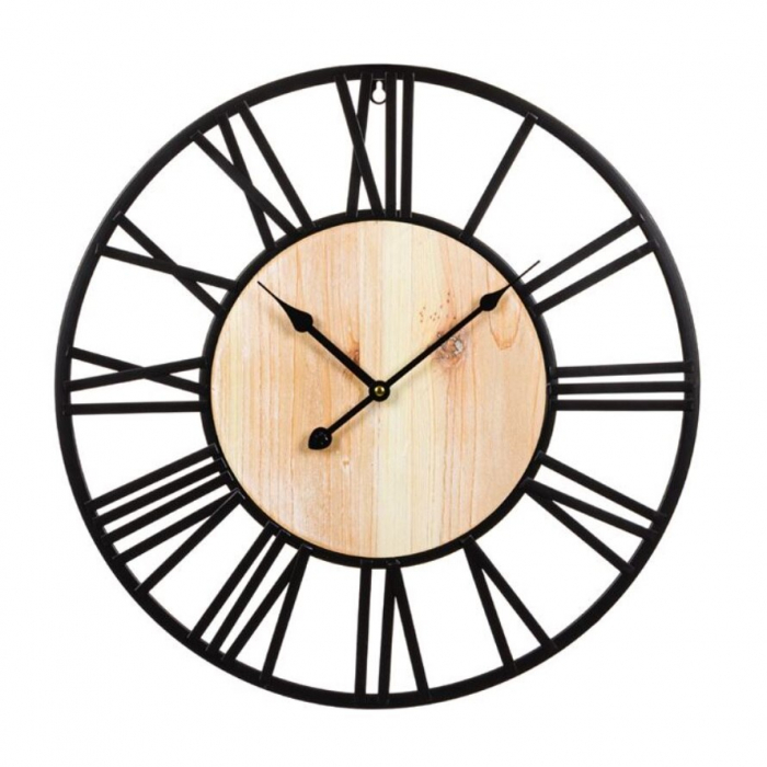 "Ceas decorativ de perete ""Vintage Hour"" metalic, negru, 50 cm [0]"