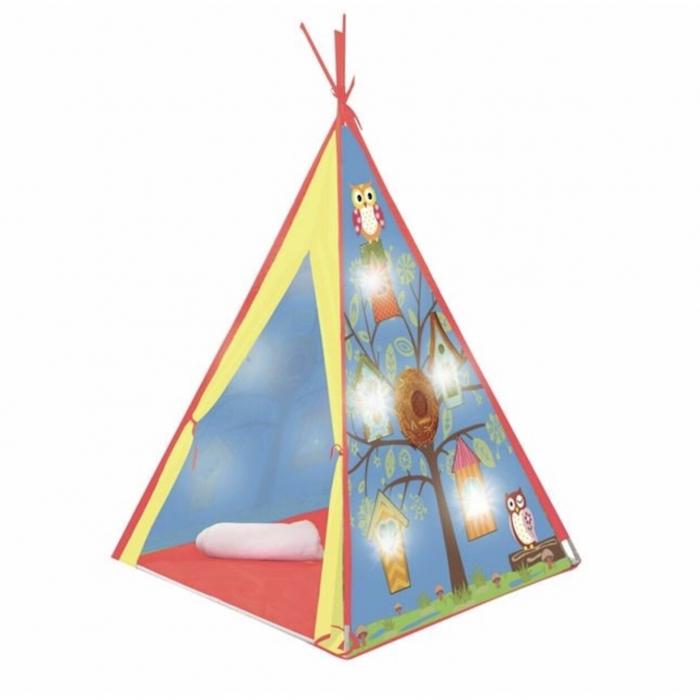 Cort indian pentru copii cu 10 LED-uri, pentru interior sau exterior, 1.2x1.2x1.6 cm, ATS [0]