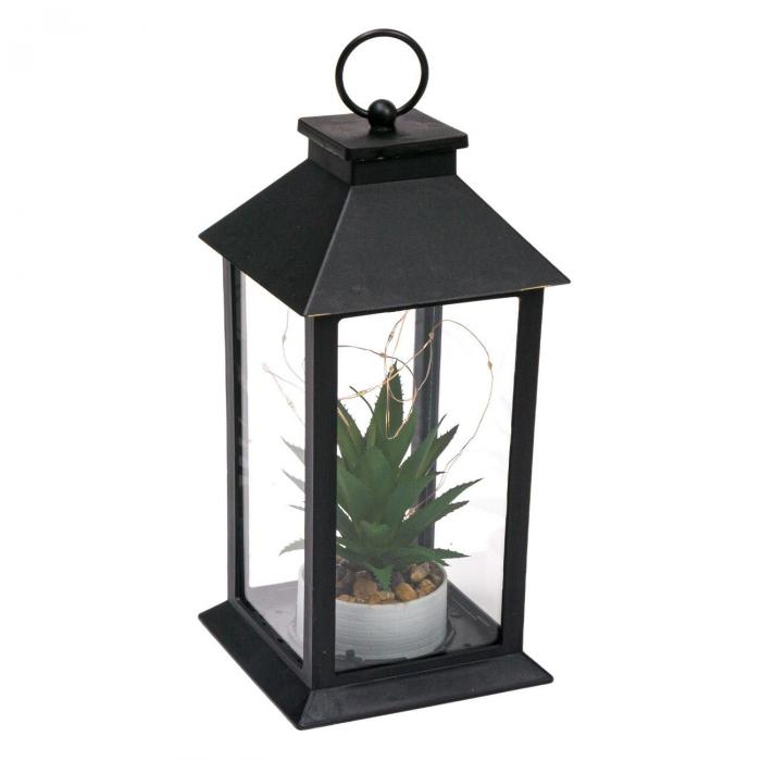 Felinar decorativ negru cu LED, Lioness, 14 x 14 x 22 cm [0]
