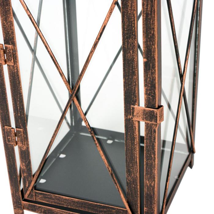 Felinar metalic cu sticla pentru lumanare, Lioness, 14.5 x 14.5 x 36.5 cm [1]