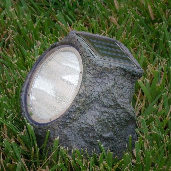Lampa solara in forma de piatra, 4 leduri, autonomie 6 ore, Gri [3]