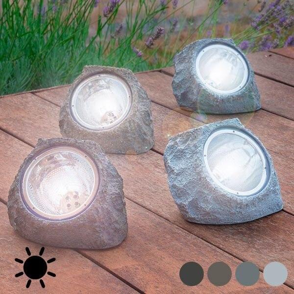 Lampa solara in forma de piatra, 4 leduri, autonomie 6 ore, Gri [2]