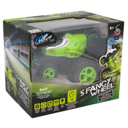 Masinuta electrica cu telecomanda pentru acrobatii, 5 roti, control de la distanta, cu lumina si functii complete, viteza maxima 9 km/h, rotire 360ᵒ, Smartic®, verde [4]