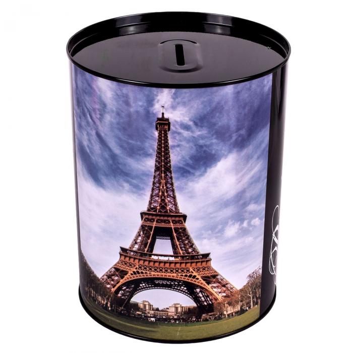 Pusculita metalica cu imprimeu turnul Eifel, Lioness, 12 x 15 cm [0]