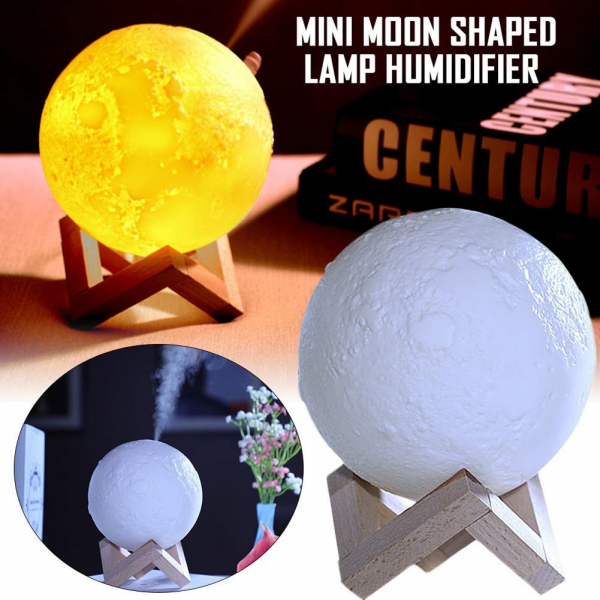 Lampa 3D Aromatherapy Diffuser Umidificator lumina alb + galben imprimata 3D reincarcabila cu acumulator,modelul nou cu Stand Lemn cadou AK3800 [2]