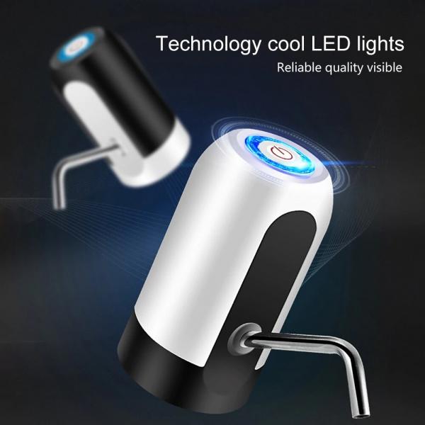 Pompa electrica pentru bidon de apa, Incarcare prin USB, indicator LED pt baterie, sticle pana la 20 de litri, Alb [1]