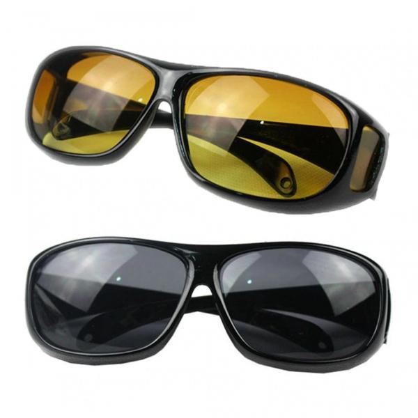 Set 2 ochelari pentru condus ziua si noaptea, HD VISION, lentila portocalie si fumurie, unisex [2]