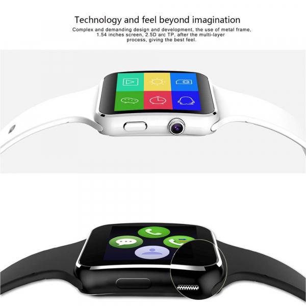 Smartwatch Usmart X6 ,ecran curbat ,cartela SIM,camera,notificari facebook,whatsapp,black [1]