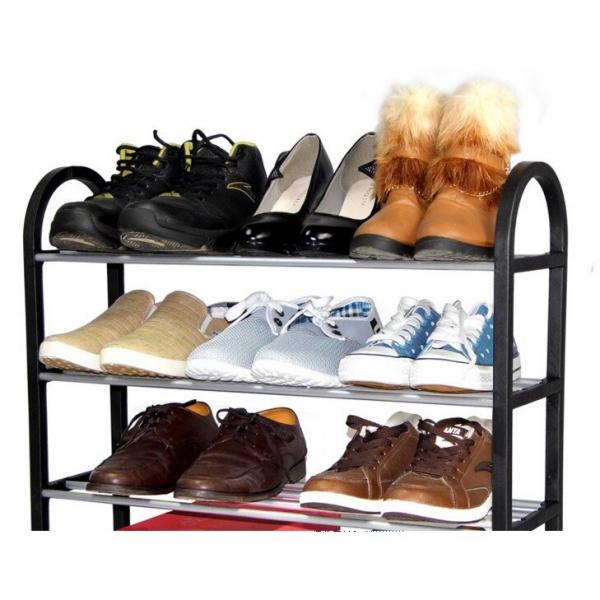 Suport pentru pantofi din plastic si aluminiu, Yosoo, 3 rafturi, Negru/Argintiu [1]
