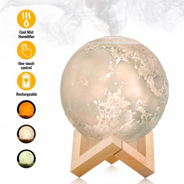 Lampa 3D Aromatherapy Diffuser Umidificator lumina alb + galben imprimata 3D reincarcabila cu acumulator,modelul nou cu Stand Lemn cadou AK3800 [0]