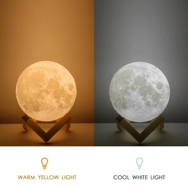 Lampa Luna Moon LED Portabila, Alb Cald si Rece, Intensitate Reglabila, Reincarcabila [1]