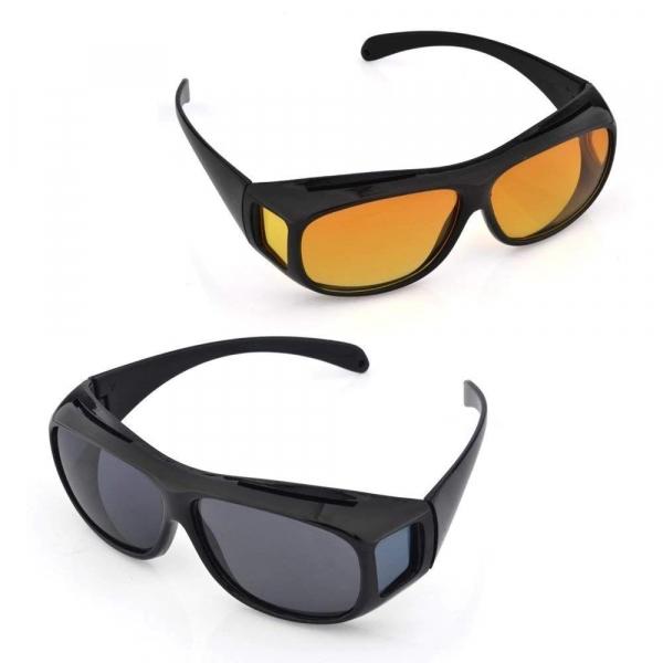 Set 2 ochelari pentru condus ziua si noaptea, HD VISION, lentila portocalie si fumurie, unisex [4]