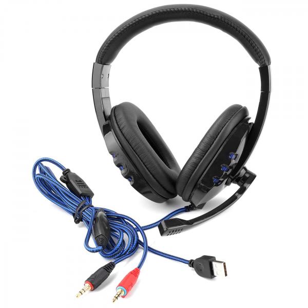 Casti gaming cu microfon,LED albastru, Negru, Microfon cu functie de reducere a zgomotului, Pernute din piele [1]