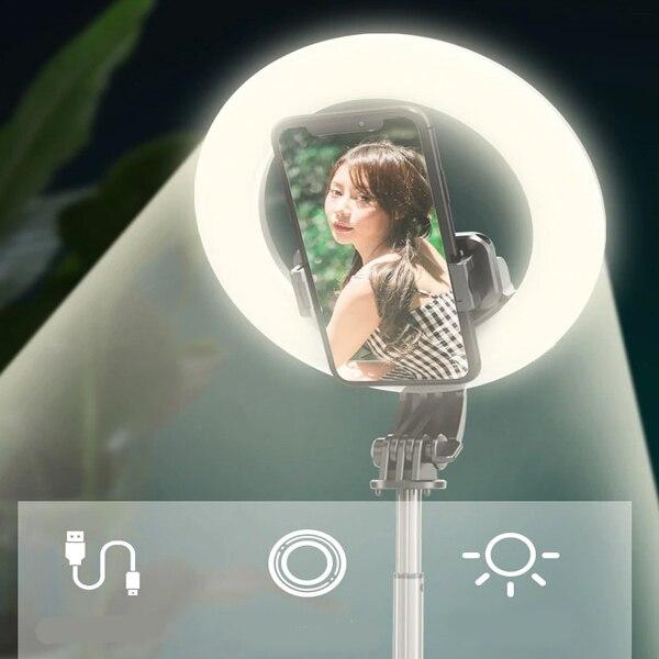 Lampa circulara Make up ,Selfie Stick Bluetooth L07, portabil, LED 5 inch, 90 cm [2]