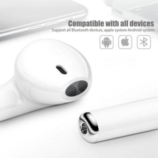 Casti Wireless Mini, Bluetooth 5.0 High Definition Music, cu Microfon, Apeluri Telefon, Incarcator si Stand Wireless de incarcare , i7 Mini ,Alb [2]