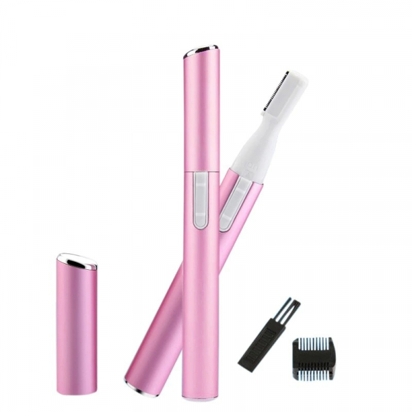 Trimmer OMNIA S-Beauty, portabil, design modern, roz, utilizare fara fir, perie de curatare, ideal pentru fata, sprancene, decolteu, axile, bikini [0]