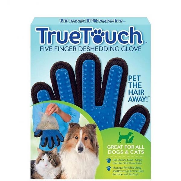 Manusa pentru periat animale True Touch, culoare albastru/negru [1]