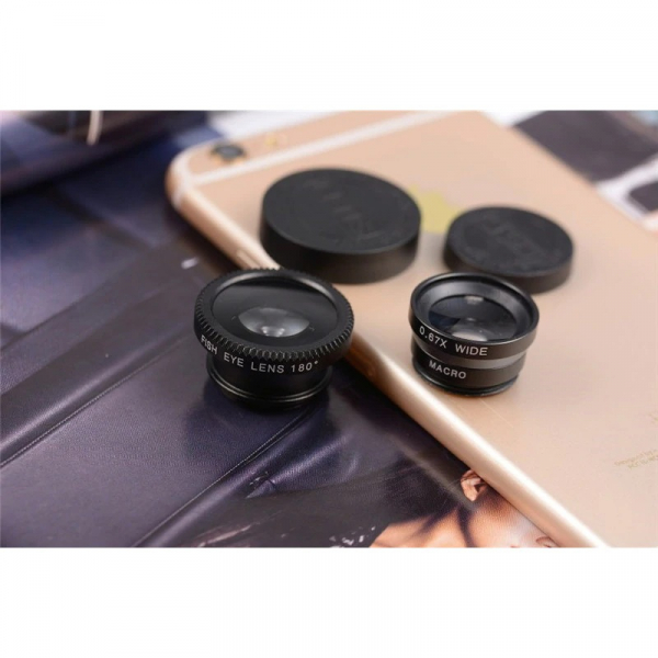 Set Kit 3in1 Lentile Profesionale pentru Telefon sau Tableta - Fish Eye Macro Wide Angle - GRI [4]