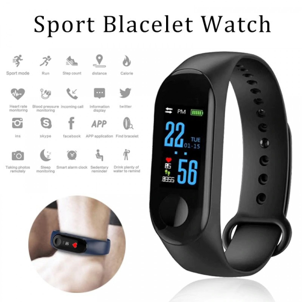 Bratara Fitness M3, ecran TFT 0.96inch, USB, bluetooth, masurare ritm cardiac si alte functii ale organismului [1]