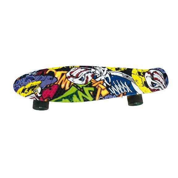 Skateboard, Cu cadru din aluminiu, Acoperire antiderapanta, Cu design graffiti, 56 x14 cm, Pana la 100 kg [0]
