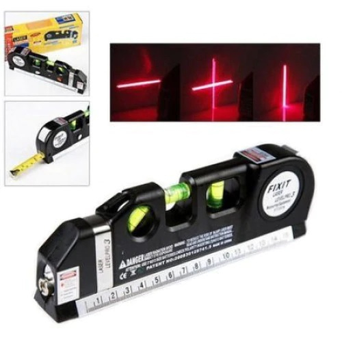 Nivela Laser cruce, orizontal si vertical, boloboc 3 bule, ruleta 2.5m si rigla aluminiu 15cm, multifunctionala 4 in 1 Laser, All in one [0]