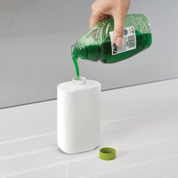 Set organizator de chiuveta 3 in 1, Dispenser Detergent de Vase, Sapun Lichid si Suport pentru Burete de Bucatarie, alb/verde [2]